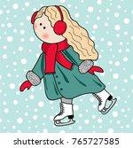 skating girl. picrure of cute... | Shutterstock .eps vector #765727585