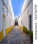 narrow street in the medieval... | Shutterstock . vector #765730705