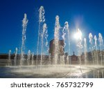 water fountain in the light of... | Shutterstock . vector #765732799