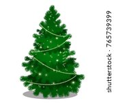 green christmas tree with beads ...   Shutterstock .eps vector #765739399