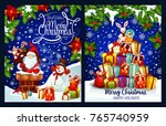 merry christmas greeting card... | Shutterstock .eps vector #765740959