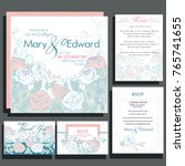 set of wedding cards with roses.... | Shutterstock .eps vector #765741655