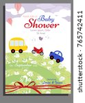 baby shower card design with... | Shutterstock .eps vector #765742411