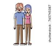 couple in watercolor silhouette ... | Shutterstock .eps vector #765745387