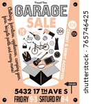 garage or yard sale with signs  ... | Shutterstock .eps vector #765746425