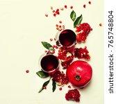 fresh pomegranate juice in... | Shutterstock . vector #765748804