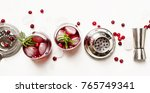 cranberry cocktail with ice ... | Shutterstock . vector #765749341