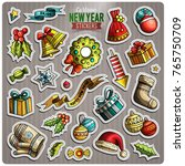 set of happy new year cartoon... | Shutterstock .eps vector #765750709