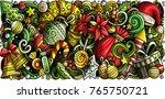 cartoon vector doodles new year ... | Shutterstock .eps vector #765750721