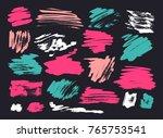 grunge brush stroke set | Shutterstock .eps vector #765753541