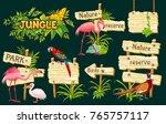 wooden signboards  exotic birds ... | Shutterstock .eps vector #765757117
