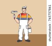 painter cartoon vector holding... | Shutterstock .eps vector #765757861