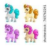 little cute cartoon horse ... | Shutterstock .eps vector #765762241