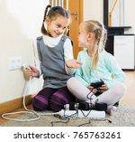happy european children playing ... | Shutterstock . vector #765763261