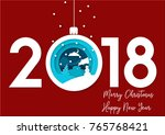 2018 merry christmas and happy... | Shutterstock .eps vector #765768421