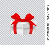 gift box with red ribbon.... | Shutterstock .eps vector #765777841