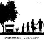 family barbecue and picnic in... | Shutterstock .eps vector #765786844