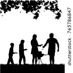 family barbecue and picnic in... | Shutterstock .eps vector #765786847