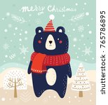 christmas illustration with... | Shutterstock .eps vector #765786895