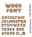 wooden font vector set. wood... | Shutterstock .eps vector #765787495