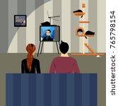 couple watching tv | Shutterstock .eps vector #765798154