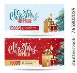 christmas gift voucher coupon... | Shutterstock .eps vector #765802039