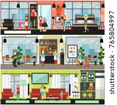 vector home and office cleaning ... | Shutterstock .eps vector #765804997