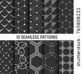 set of ten monochrome seamless... | Shutterstock .eps vector #765808231