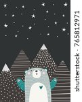 cute bear looks at the starry... | Shutterstock .eps vector #765812971