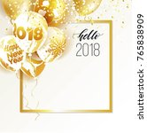gold and marble 2018 balloons.... | Shutterstock .eps vector #765838909
