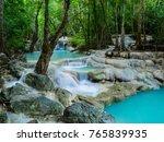deep forest waterfall in... | Shutterstock . vector #765839935