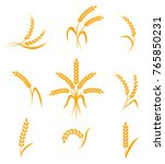 wheat ears or rice icons set.... | Shutterstock . vector #765850231