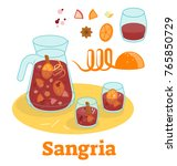 spanish traditional sangria red ... | Shutterstock .eps vector #765850729