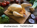 whole chicken  with mixed... | Shutterstock . vector #765851569