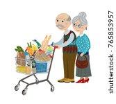 happy grandparents in the shop. ... | Shutterstock .eps vector #765853957