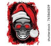christmas skull grunge.vintage... | Shutterstock .eps vector #765860839