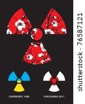 sakura in the radiation symbol... | Shutterstock .eps vector #76587121