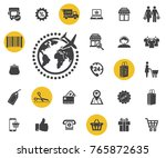 the globe and plane travel icon ... | Shutterstock .eps vector #765872635