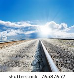 railway to sun - stock photo