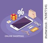 online shopping concept banner.... | Shutterstock .eps vector #765877141