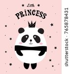 Stock vector cute panda bear girl with crown little sweet princess vector illustration 765878431