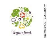 vegan food icon. logo design... | Shutterstock . vector #765888679