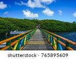 wooden pedestrian bridge from... | Shutterstock . vector #765895609