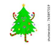 cute christmas tree cartoon...   Shutterstock .eps vector #765897319