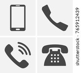 phone icons. set of flat grey... | Shutterstock .eps vector #765912439