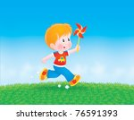 Boy Running With A Whirligig