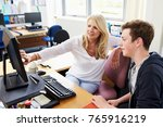 female careers advisor meeting... | Shutterstock . vector #765916219