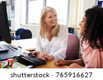 careers advisor meeting female... | Shutterstock . vector #765916627