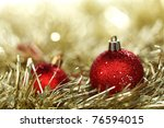red christmas ball on holiday background - stock photo