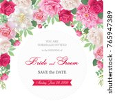 wedding invitation cards with... | Shutterstock .eps vector #765947389